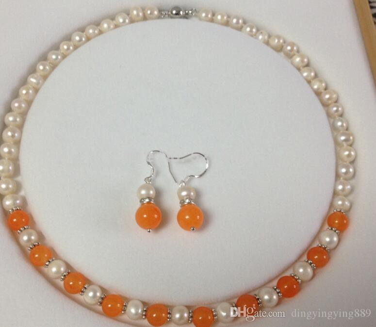 "jewelryWholesale JWEW6553 7-8MM White Akoya Cultured Pearl/Orange Jade necklace earrings set 18""No"