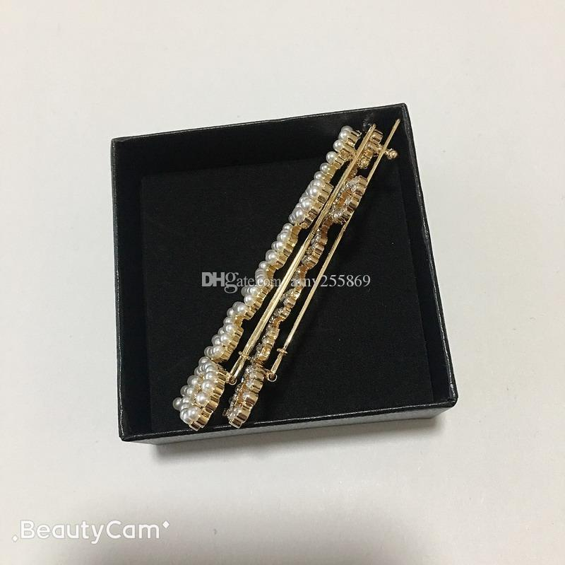 Classic Fashion C style pearl hairpin diamond hair clip one word clip for ladies collect hair ornaments items vip gift