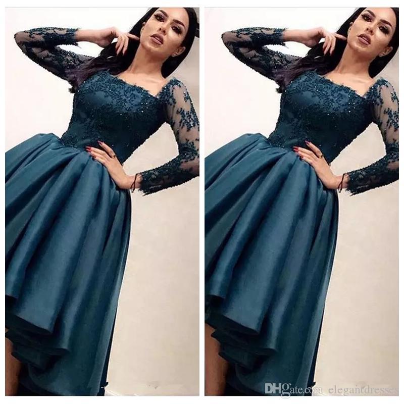 Kare Uzun Kollu A-Line Yüksek Düşük Gelinlik Modelleri Hi-Lo 2019 Hi-Lo Orta Doğu Dantel Aplikler Kadınlar Akşam Parti Törenlerinde Vestidos De Soiree