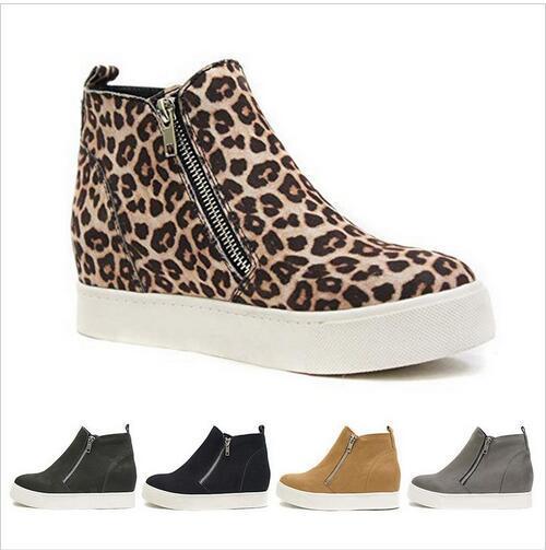 봄 가을과 겨울 레오파드 플랫 신발 여성 캐주얼 신발 솔리드 사이드 지퍼 새로운 패션 카모 발목 부츠 여성