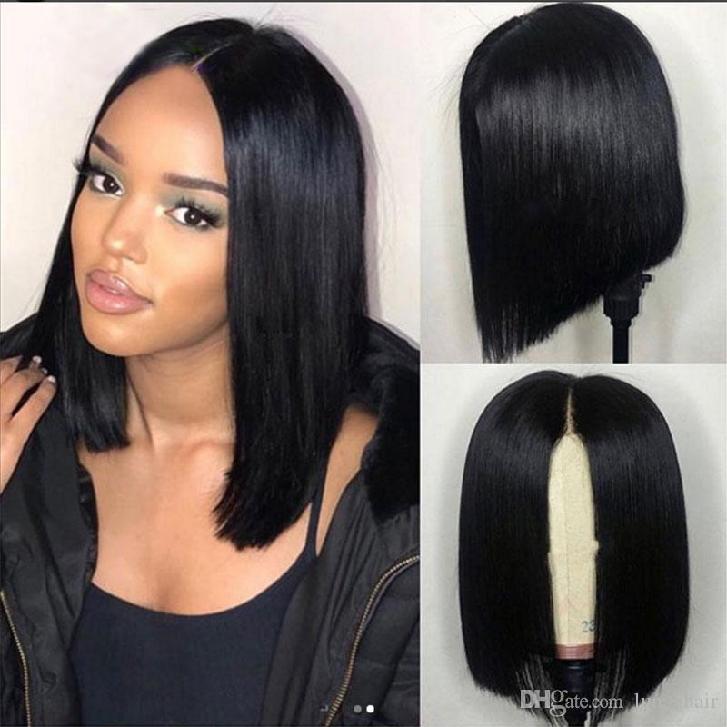2019 Pelucas de cabello humano Con Frente / Full Lace Brasileño Natural Recto Para Mujeres Negras Medio Bob 130 150 180densidad Nudos blanqueados con presión previa