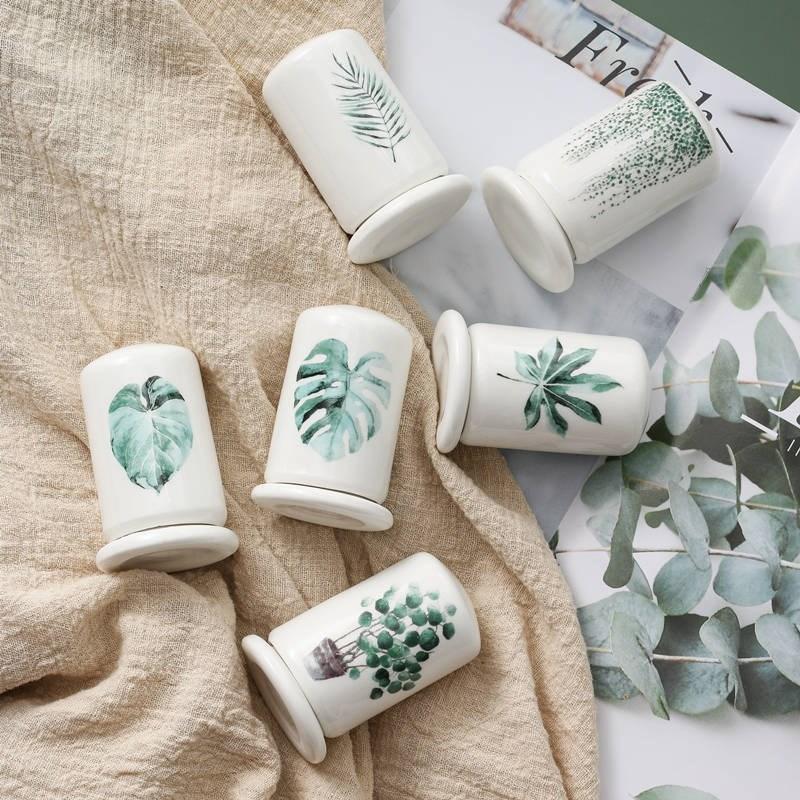 Padrão Nordic Estilo pintados à mão Folha de cerâmica paliteiro Porcelain Paliteiro sala mesa Acessórios H233