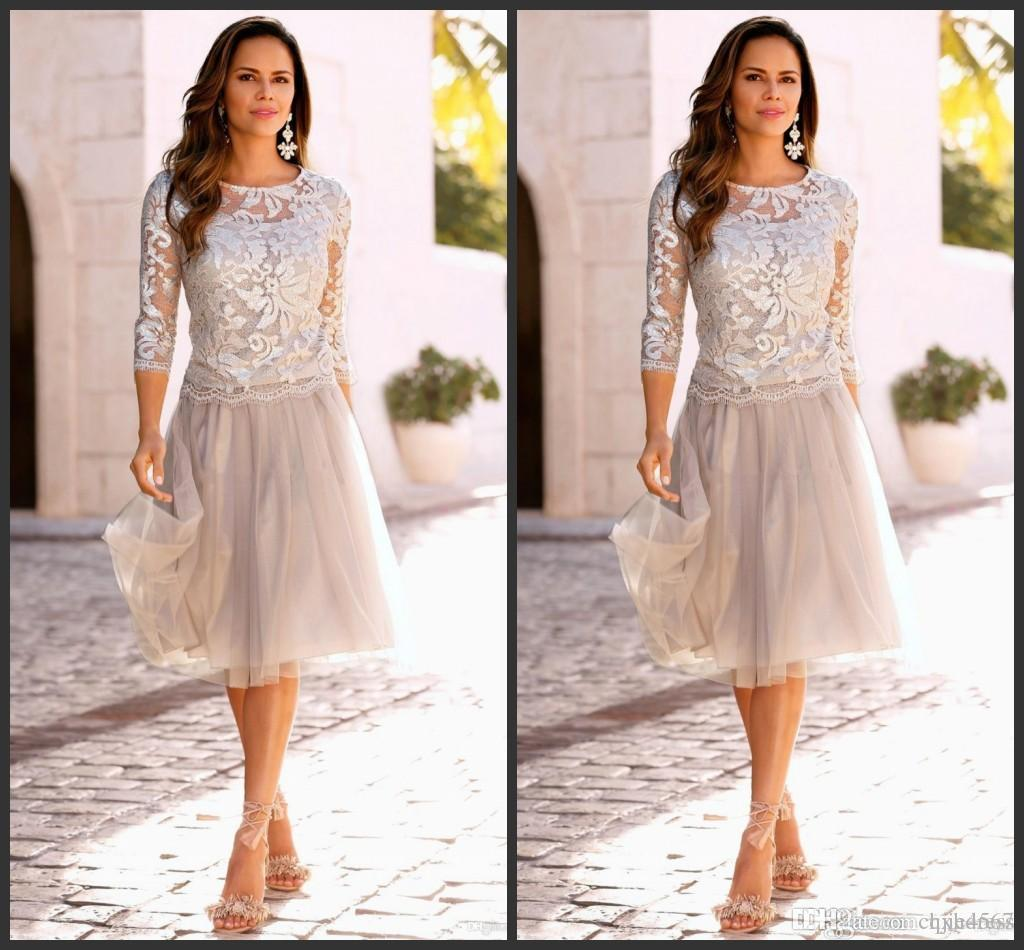 Cheap Lace Mother of The Bride Dresses Tiered Tulle 3/4 Sleeves Knee Length Wedding Party Dresses A Line Mother's Dresses Custom Made 7