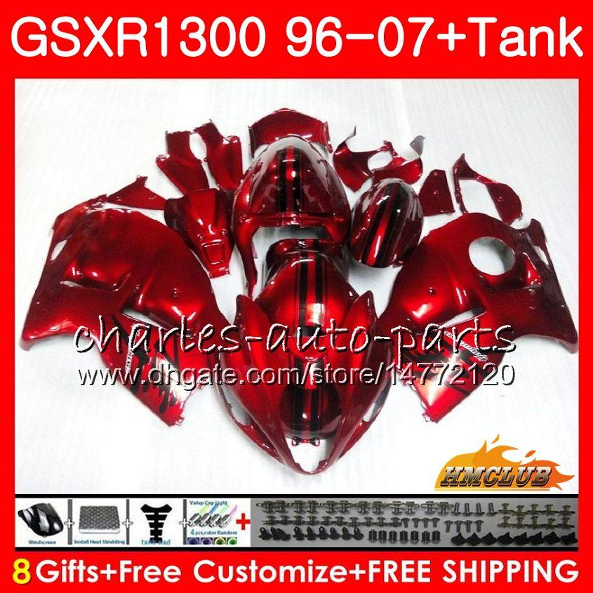 Kit pour Suzuki Hayabusa GSX-R1300 1996 1997 1998 2007 24hc.21 GSXR 1300 GSXR1300 96 97 98 99 Candy Red Hot 00 01 02 03 04 05 06 07 Fréation