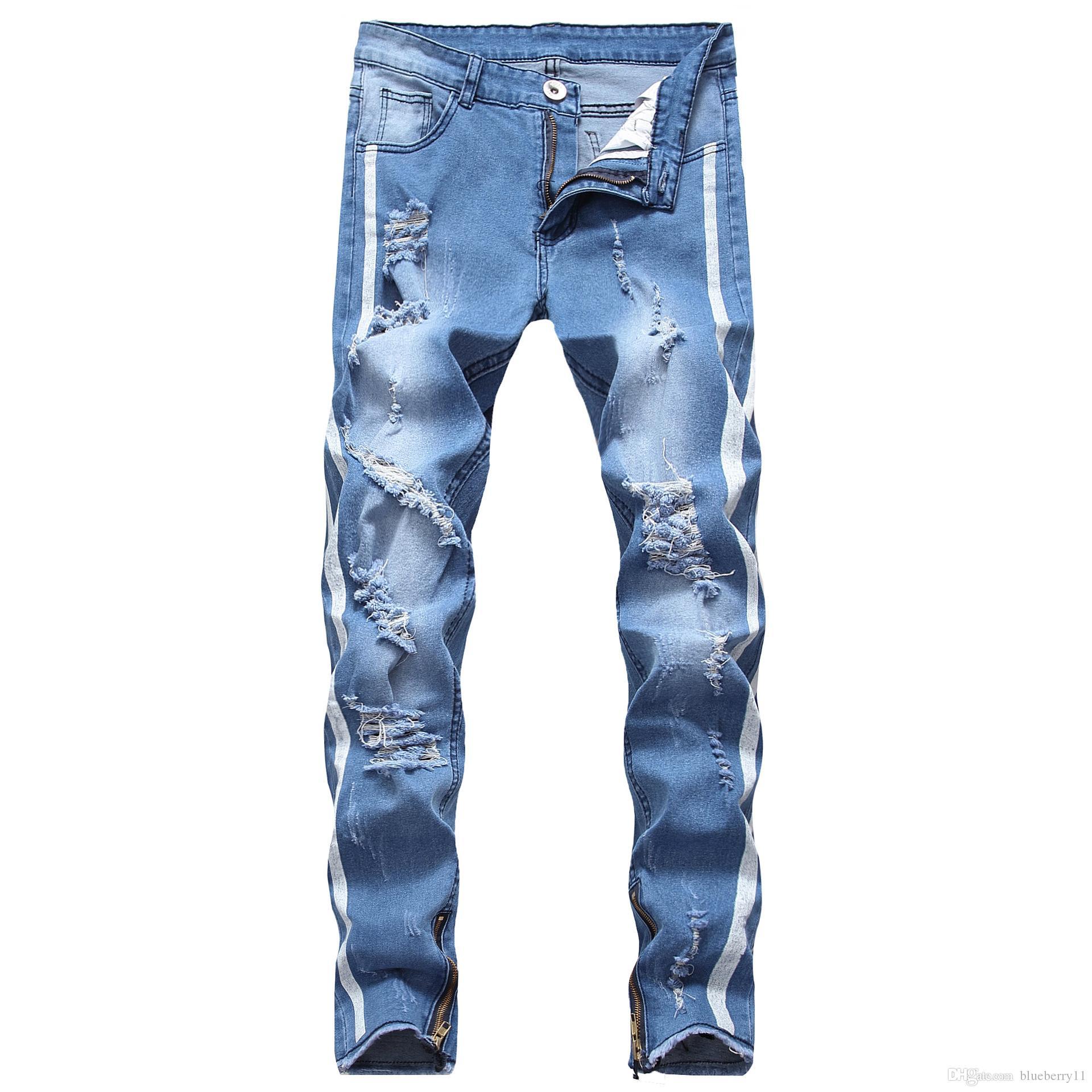 Männer Jeans 2021 Mode gerissen Männer aushöhlen Bedruckte Bettler geschnittene Hosen Mann Cowboys Demin Mann