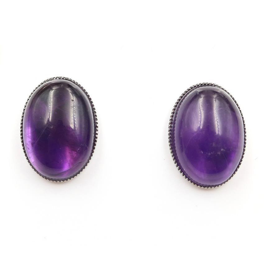 10 pares Plateado Plata Forma Oval Forma Amatista Crystal Stud Pendientes para Mujeres Malachite Piedra Joyería de moda