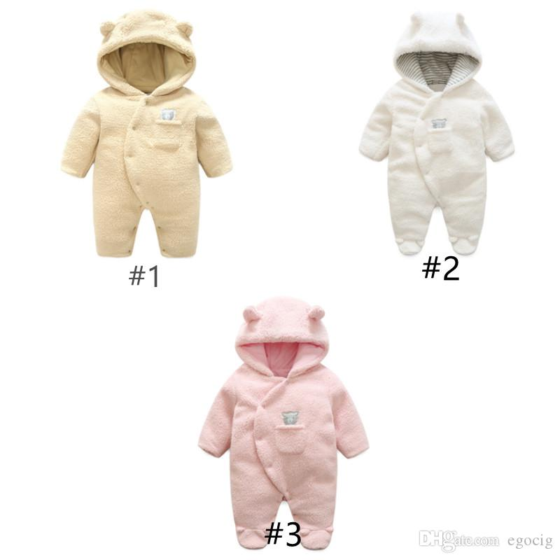 Newborn Baby Girl Boy Dot Thick Fluffy Hooded Jumpsuit Romper Outfit Kid Clothes