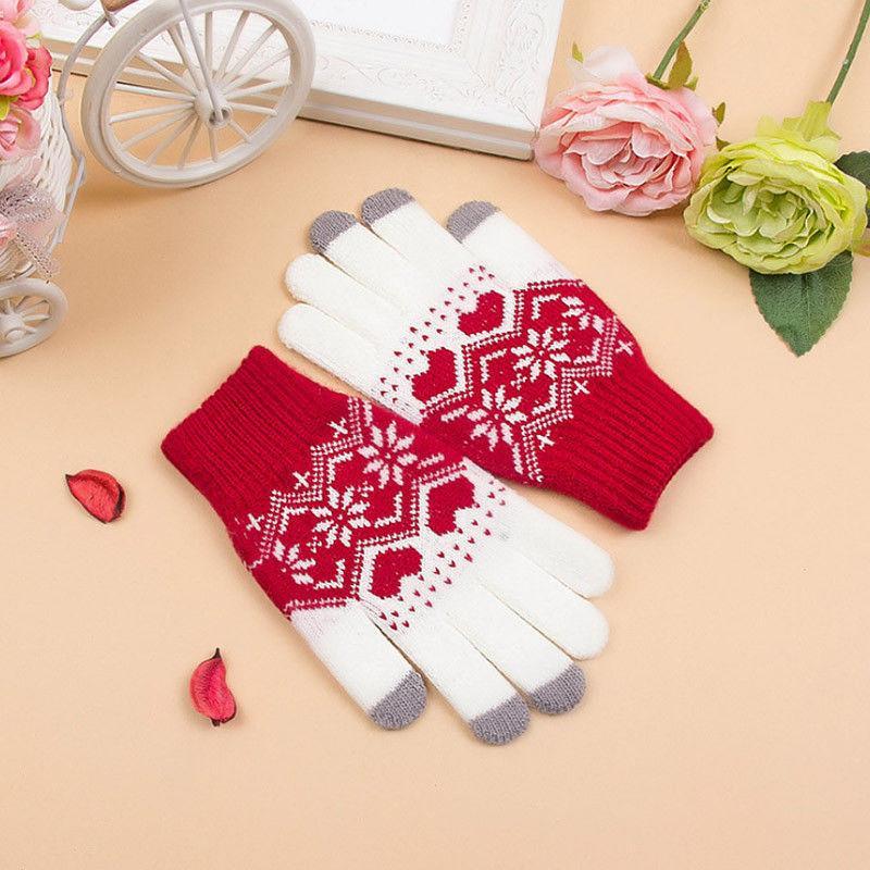 Unisex Warm Touch Screen Gloves Soft Winter Men Women Geometric Cashmere Blend Texting Cap Active Smart Phone Casual Knit