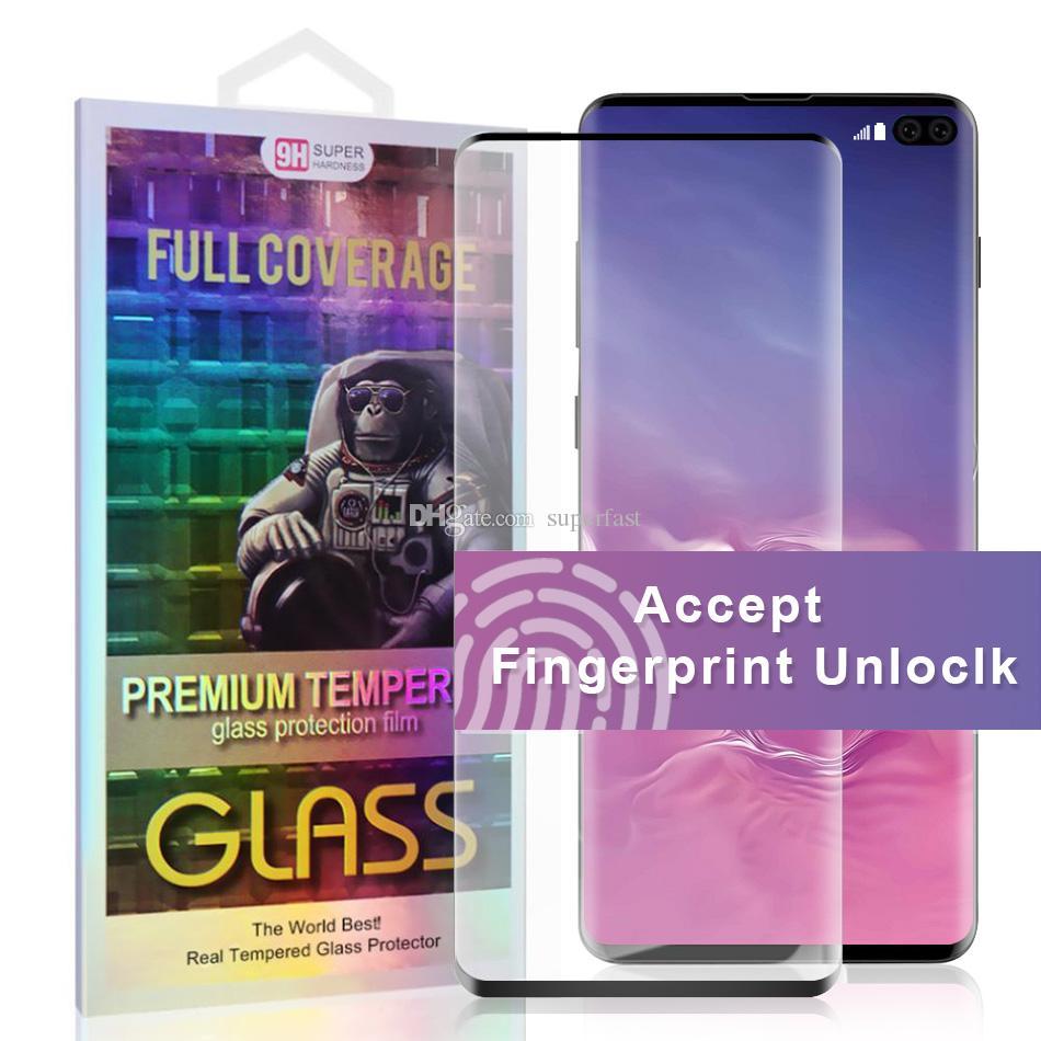 Корпус Дружественные закаленное стекло для S10 Примечание 10 Samsung Galaxy S10 Plus S10e S20 Screen Protector 5D Полное покрытие Прикосновение Unclock НЕТ HOLE