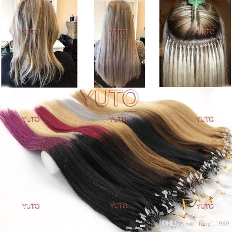 100pcs Echthaar Extensions Einfache Schleife / Mikroring-Korn-ombre Haar Farben Frauen Verlängerungen 14-26inch lange Gerade