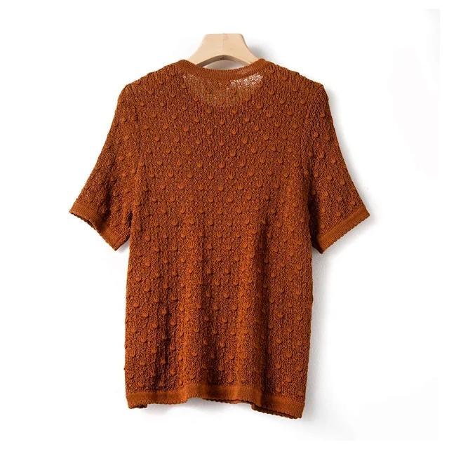 2020 New Verão Mulheres malha T camisa senhora elegante O pescoço gancho camisa de malha camisola de manga curta malha Femme tee top pullover