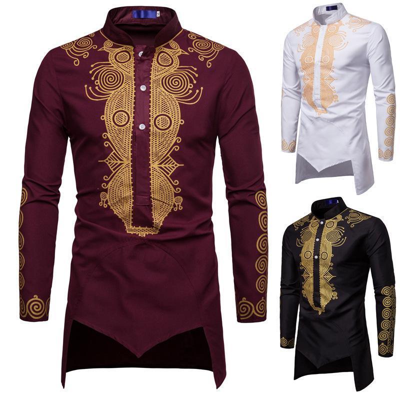 Hommes Chemise Kurta manches longues solide vêtements islamiques hommes musulmans Hauts Hem irrégulières Népal style Hombre longues Chemises Taille Plus J1811141