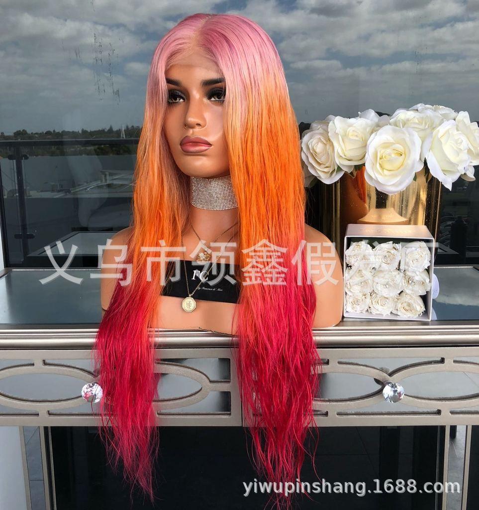 Желаю новых интересных европейских и американских парик Леди градиент цвета короткие прямые волосы Роза сеть парик набор пятно Оптовая продажа фабрики