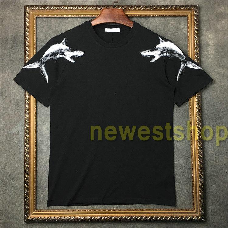 2020 여름 새로운 의류 남성 상어 그림 패턴 인쇄 t 셔츠 패션 짧은 소매 T 셔츠 디자인 T 셔츠 캐주얼 코튼 티 여자
