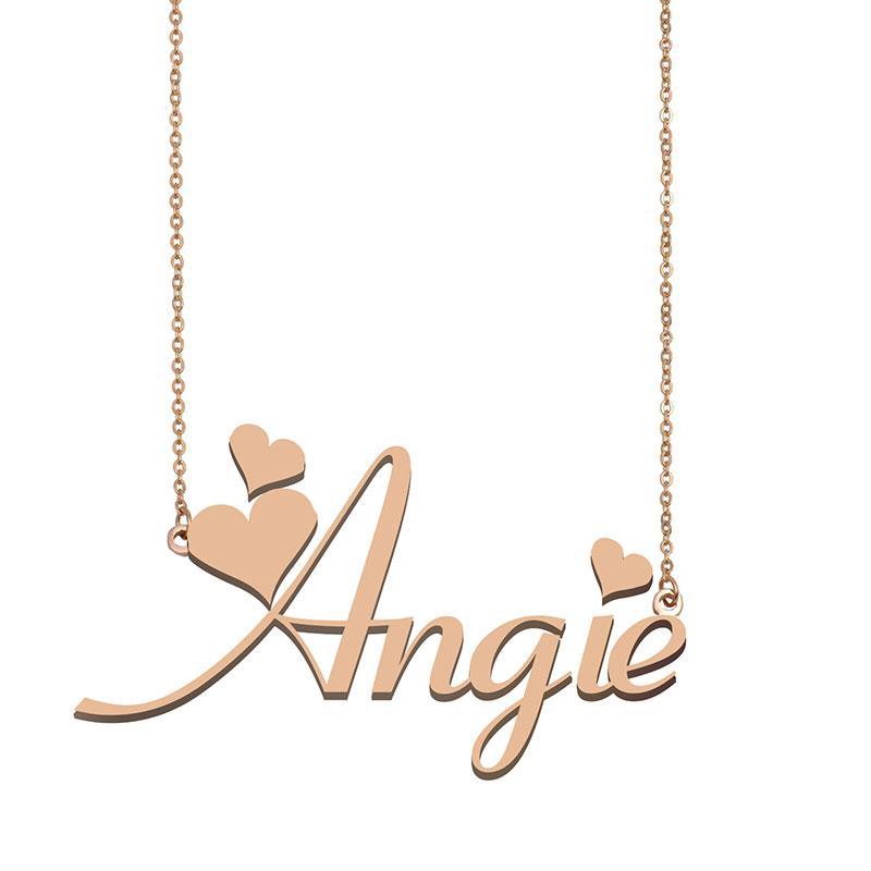 Angie Namenshalsketten-Anhänger für Frauen Freundin Geschenke Individuellen Typschild Kinder Best Friends Schmucksachen 18k Gold überzogener Edelstahl