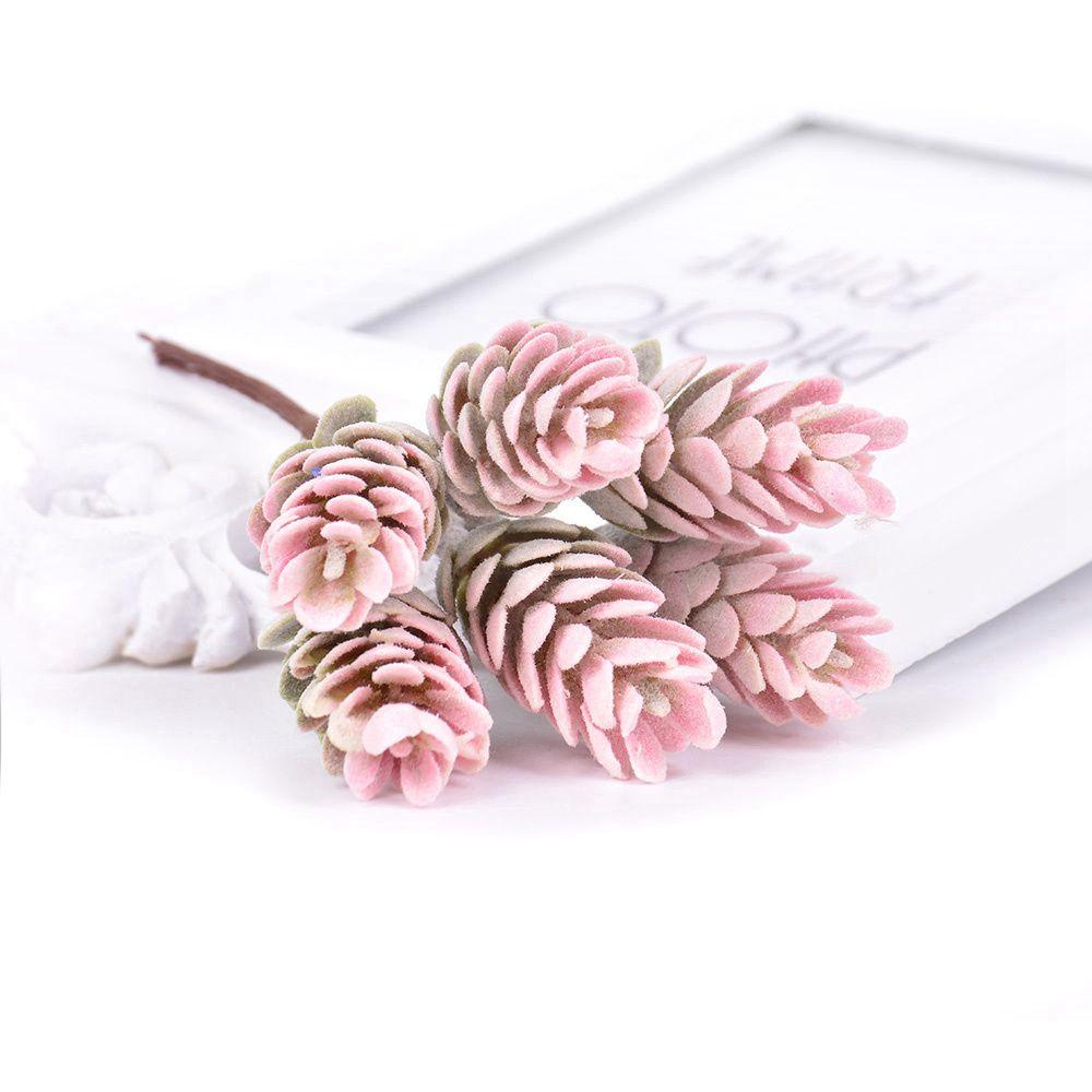 6pcs / lot Plante artificielle ananas Herbe Fleurs artificielles pour la main bricolage Craft Home Decor Couronne Scrapbooking