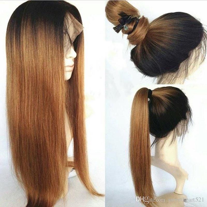 La mode 150% densité noire racines Ombre Blonde longue ligne droite perruque peut se laver naturel queue de cheval Style sans colle synthétique avant de lacet perruques bébé cheveux