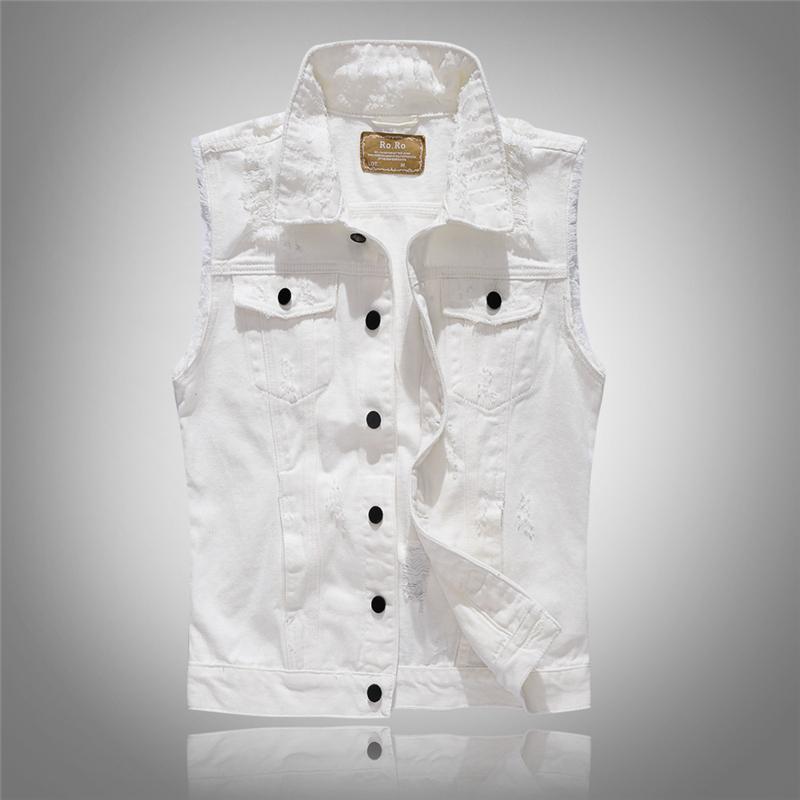 Sin mangas para hombre moda Denim Chaleco Nueva marca de alto grado Chaquetas Washed Jeans Chaleco Mens Cowboy Hombre Ripped Tank Top chaqueta