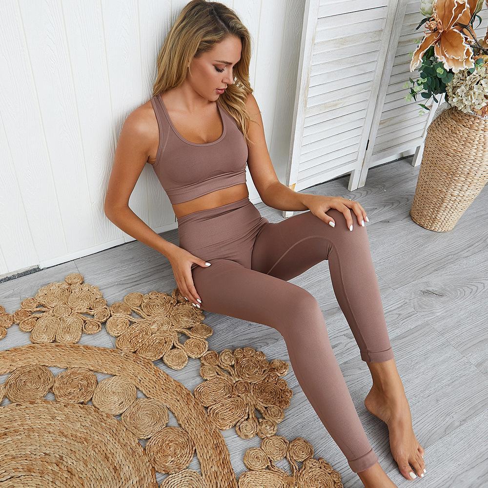 Gym Set di 2 vestiti di allenamento per le donne Set Yoga solido Colore fitness Leggings Abbigliamento sportivo donna Yoga Wear Sport Bra e pantaloni