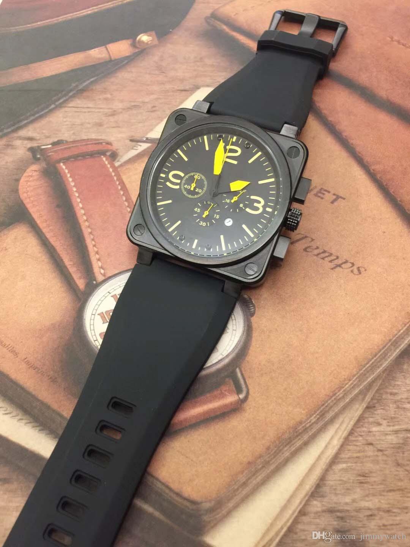 Cinturino in gomma Grande Scelta Bellross Aviation Quarzo Cronografo 42MM Mens Watch Watches Nero Giallo indici Outdoor Uomo Orologi da polso