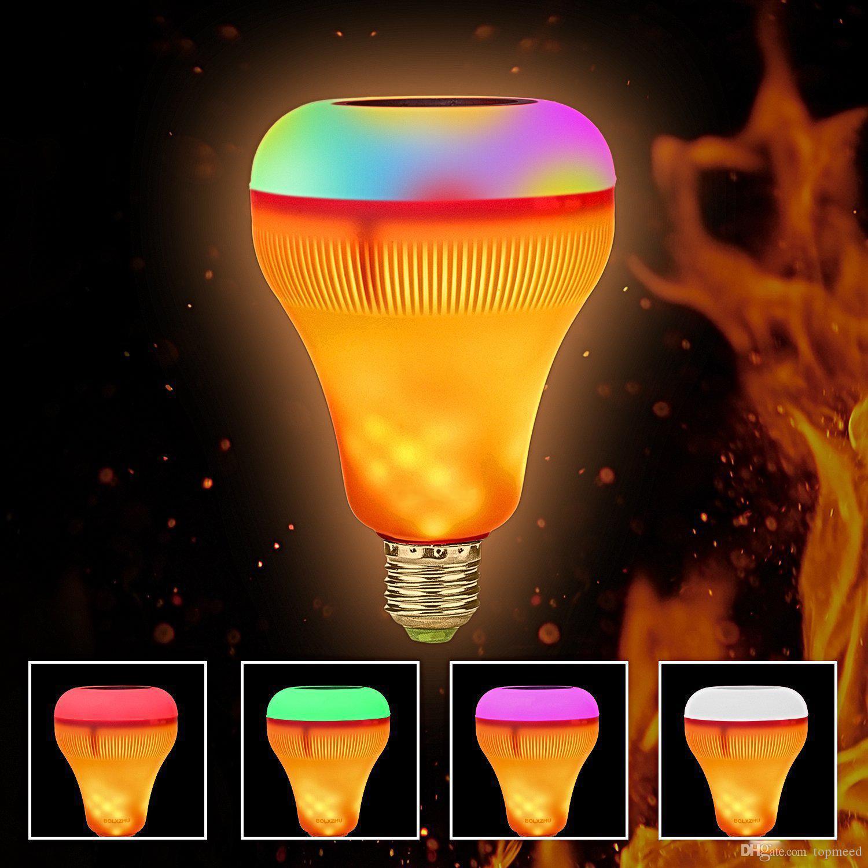 LED Fiamma luce E27 di Smart Bluetooth Speaker RGB Wireless Music Playing Flame Bulb dimmerabile colorato con 24 chiavi telecomando