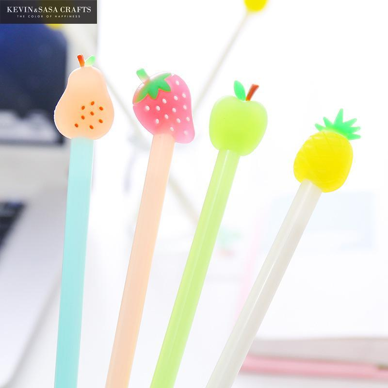 4pcs Fruit Gel Pen lindo de Kawaii Papelería Escuela de suministros de oficina regalo de la oficina estacionaria gel Escuela de tinta Proveedores