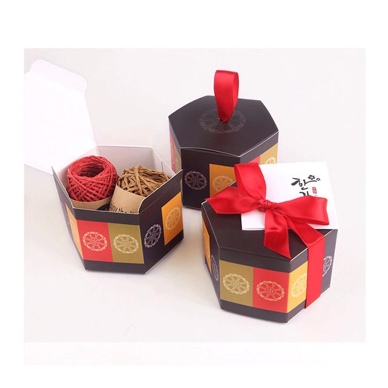 squisito regalo stile cinese regalo caramelle biscotto confezionamento di adesivi personalizzati borsa esagonale possibile con il vostro logo