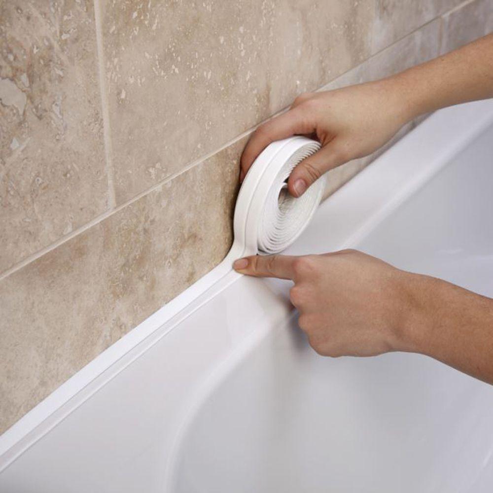 3.2mx38mm Ванная комната Душ Раковина Ванна Уплотнительная лента лента ПВХ белый Self клей водонепроницаемый стикер стены для ванной комнаты Кухня