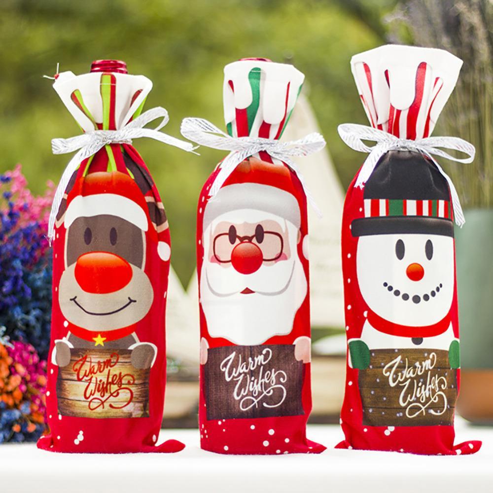 2019 Noel Şarap Şişesi Kapağı Çantası Navidad Ziyafet Noel Yemeği Parti Noel Sevimli Kardan Adam Masa Dekor Yeni Yıl Malzemeleri