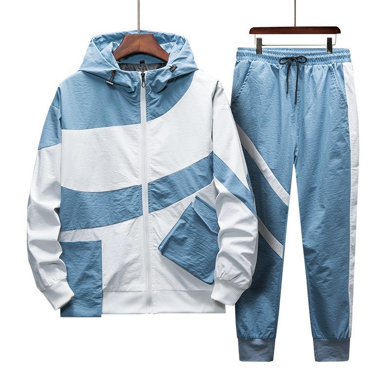 Conjunto Primavera chándal hombres Sporting otoño Traje con capucha Sudaderas + Pant Hip Hop remiendo de dos piezas de ropa para hombres Sweatsuit