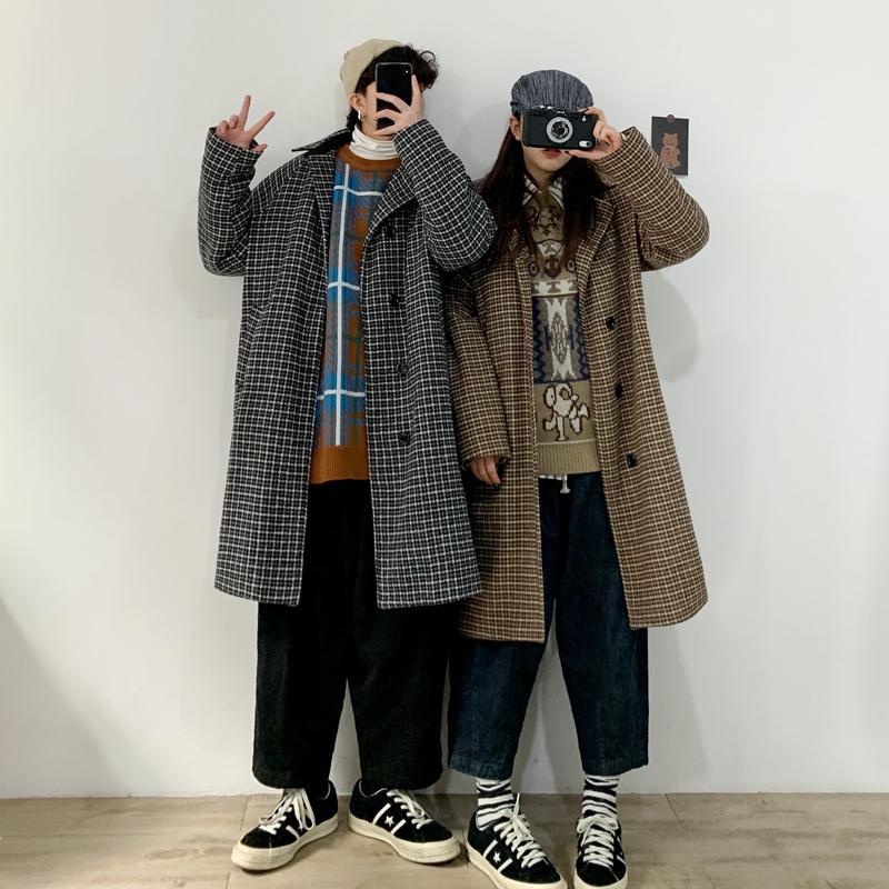 2019 Autunno Inverno New coreano Coppie Nella lunga retrò Plaid cappotto modo casuale casacca cappotto grigio / cachi M-2XL
