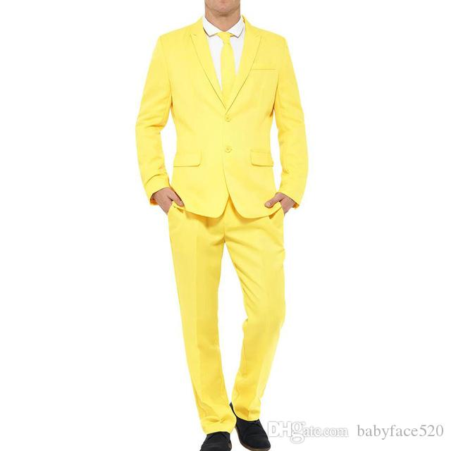 Yellow Wedding Groom Tuxedos 2019 Peaked Lapel Mens Suits Two Piece Two Button Custom Made Evening Party Suits (Jacket + Pants)