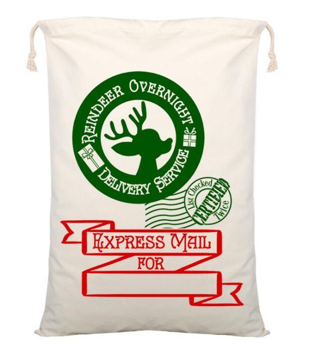 Os mais recentes tarja vermelha saco criativa Papai Noel com cordão lona do Natal de Santa Sack crianças Presente Bolsas xmas saco de correio doces