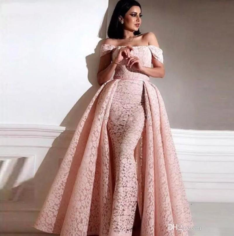Saudi Arabic Overskirts Prom Dresses Detachable Train Off-shoulder Formal Party Gowns Zipper Back Sheath Full Lace Evening Dress