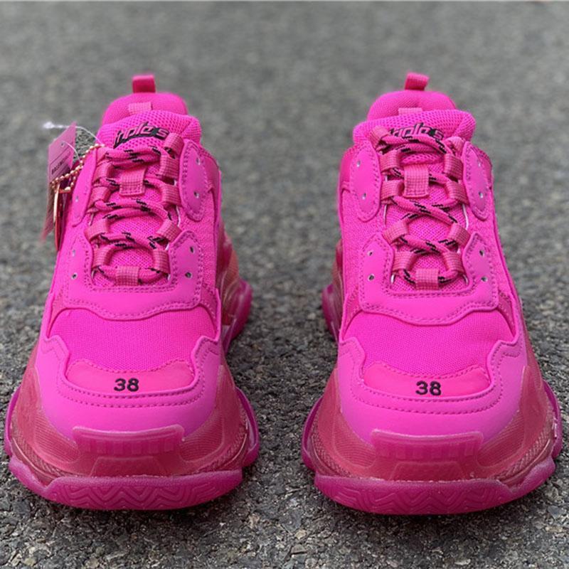 Balenciaga Daddy Shoes 2020 zapatos de lujo de París Triple S 17FW papá Run cristal de color rosa 2019 marca de moda para hombre del diseñador ocasional de las mujeres Clunky