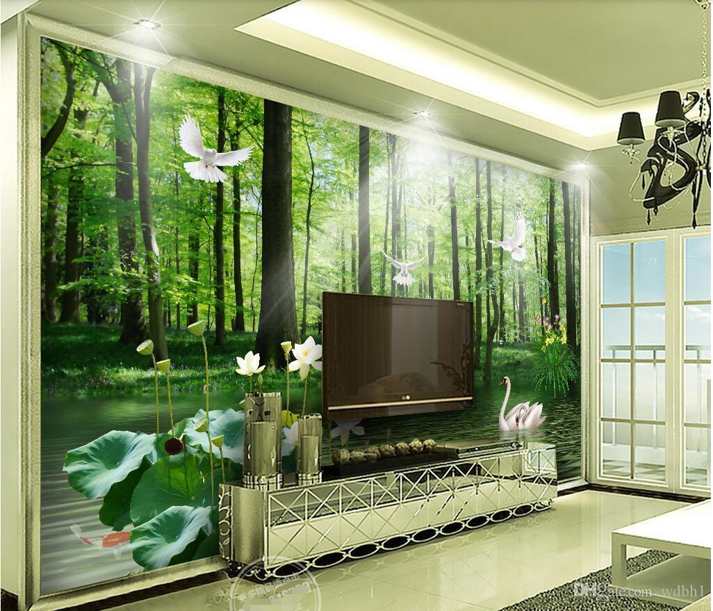 3D 벽지 사용자 정의 사진 벽화 landscape3D 아름 다운 녹색 숲 프리 배경 벽 그림 벽 3d 벽 벽화 벽지 3 d