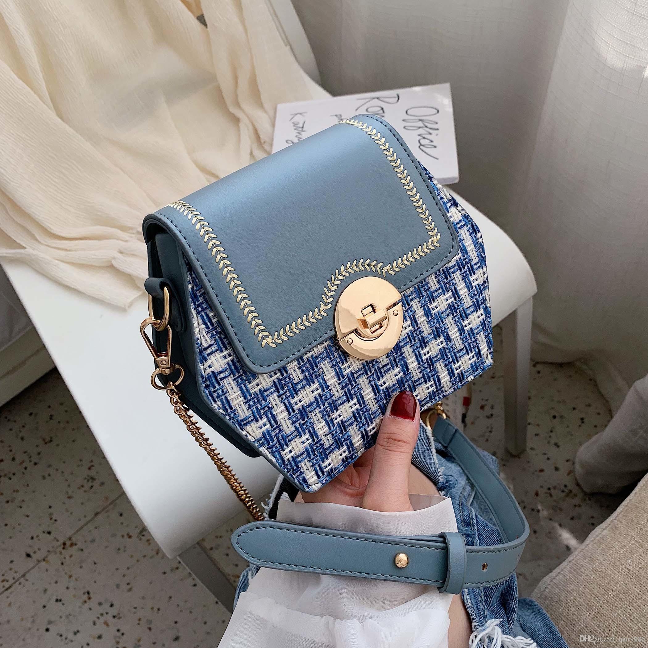 2019 nueva moda Plaid China Women Messenger Bag PU de cuero Plaid Bandolera Bolsos de moda taoduoduo / 7
