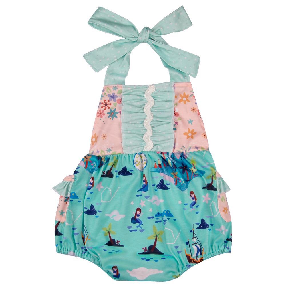2018 Mermaid Pattern Infant Romper Baby Girl Knitted Fabric Spring Newborn Boutique Girl Belt Romper Matching Dress Gpf804-121 J190526