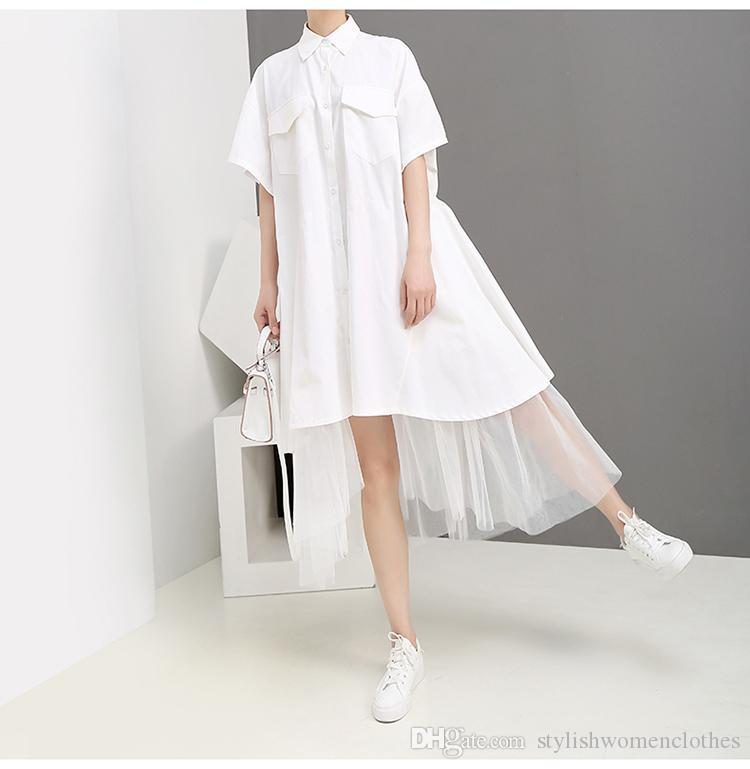 2019 Kore Stili Kadınlar Yaz Katı Beyaz Uzun Gömlek Elbise Cep Mesh Hem Lady Plus Size Gevşek Günlük Elbise Robe Femme F1011