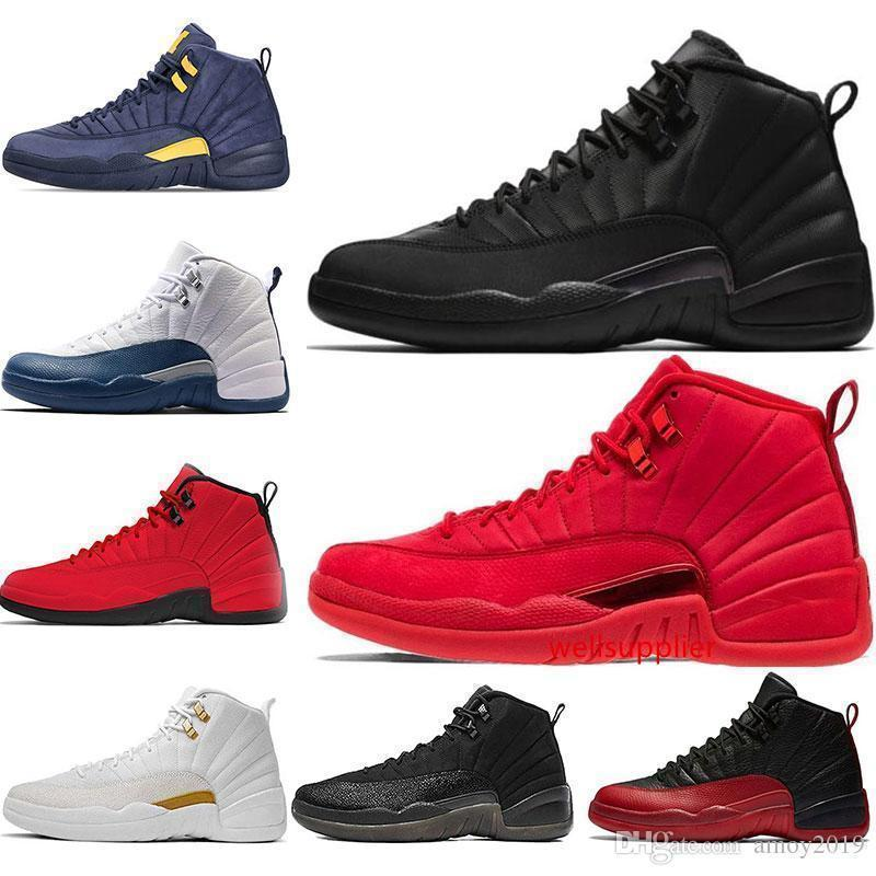 Schuhe 12s Mens Basketball 2019 Winterized Wntr Gym Red Michigan Bordeaux 12 Weiß Der Master-Grippe Spiel Taxi Sports Turnschuh-Trainer 40-47
