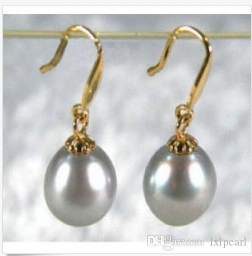 real gorgeous 10-11mm gray south sea natural pearl dangle earring 14K gold