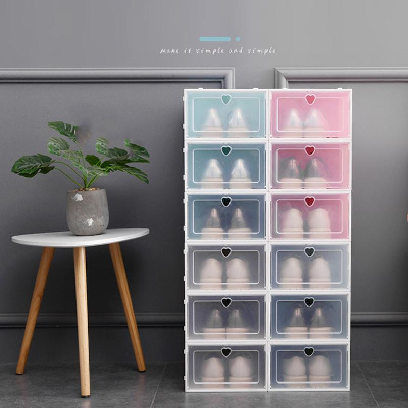 Espesar tirón de zapatos Caja de almacenamiento apilable de plástico transparente caja de zapatos a prueba de polvo Las cajas de zapato transparente color sólido cajón mayor del caso DBC VT1018