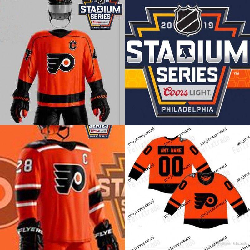Philadelphia Flyers 2019 Series Camisas do estádio 28 Claude Giroux 9 Ivan Provorov 14 Sean Couturier 37 Camisa de Hóquei Brian Elliott