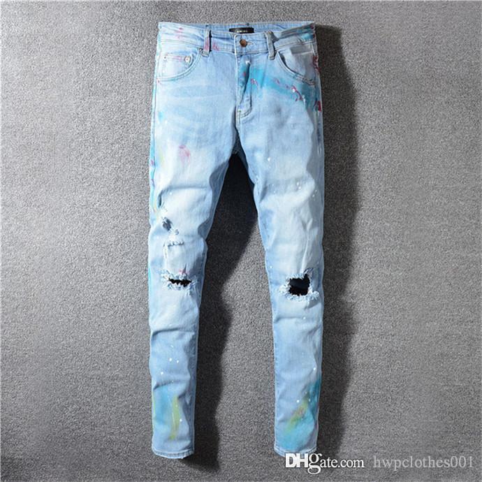 2020 nuovi uomini jeans skinny lusso jeans diritti classici di lavaggio del cowboy denim sottile pantaloni mens blue jeans neri Pantaloni a sigaretta Perth