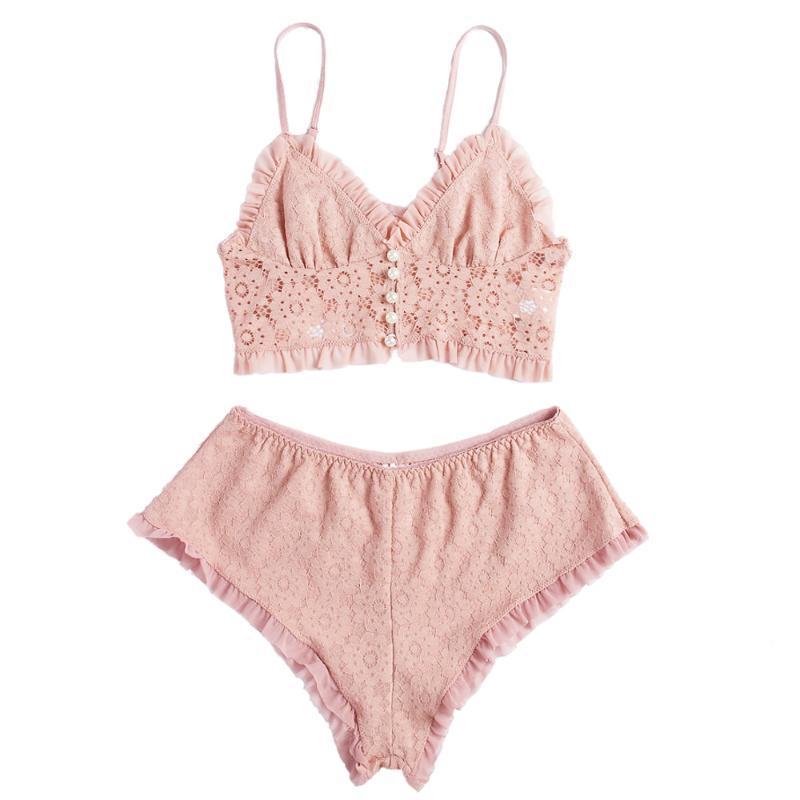 Dantel Pijama Takımı fırfır Cami Crop Top ile Şort Seksi Lingerie Set Casual Loungewear Sıcak Gecelik