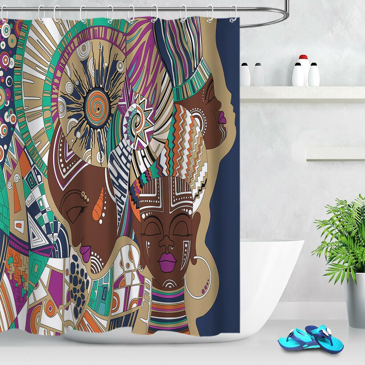 """72/"""" Abstract Africa Girl Shower Fabric Curtain Set Waterproof Bath Mat /& 12Hooks"""