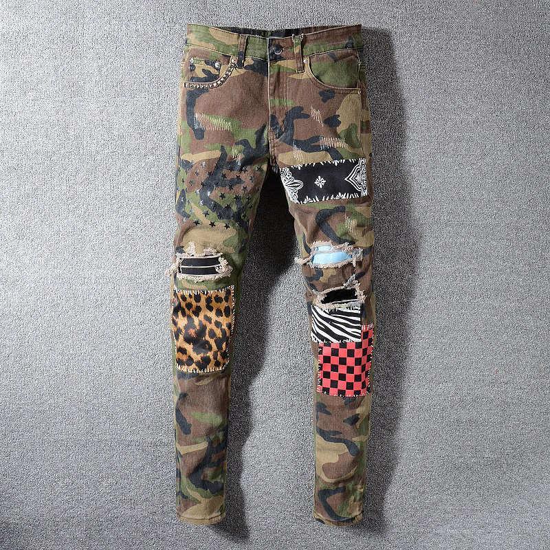 ممزق جينز رجالي الهيب هوب المتعثرة زيبر جينز الجيش الأخضر سروال جينز رجالي أزياء المصمم سروال
