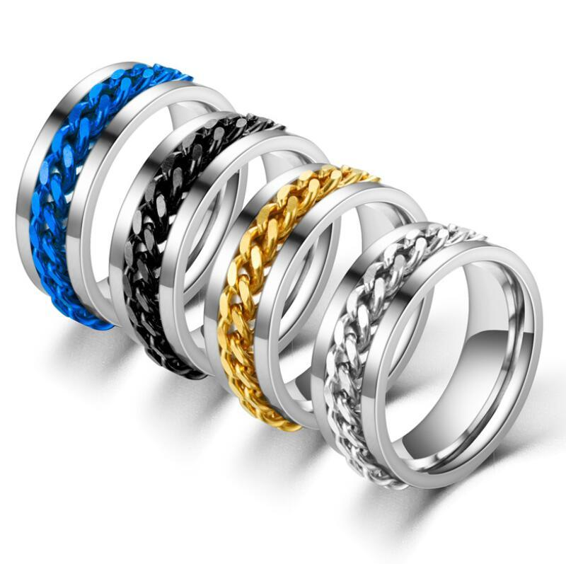 المرأة الرجال في 8MM الفولاذ المقاوم للصدأ سلسلة سبينر خاتم الزواج فرقة حجم 06-12 مايو أنماط الشحن المجاني
