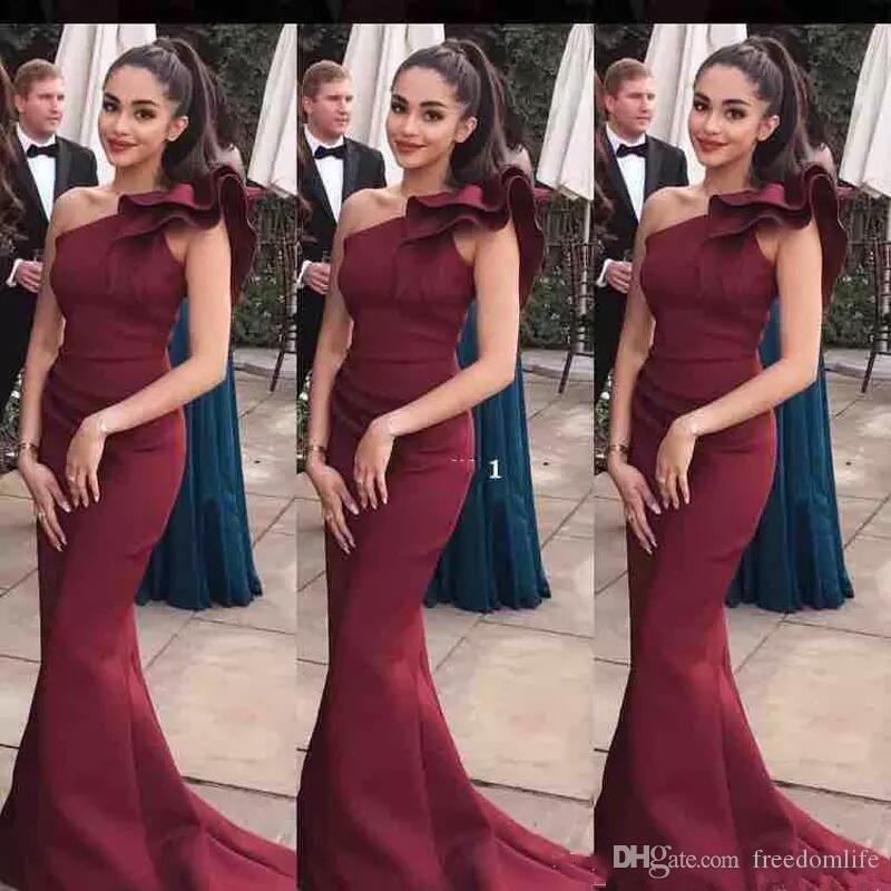 Elegant One Shoulder Mermaid Long Prom Dresses 2019 Sweep Train Zipper Back Evening Gowns Accept Custom Made Special Occasion Dress