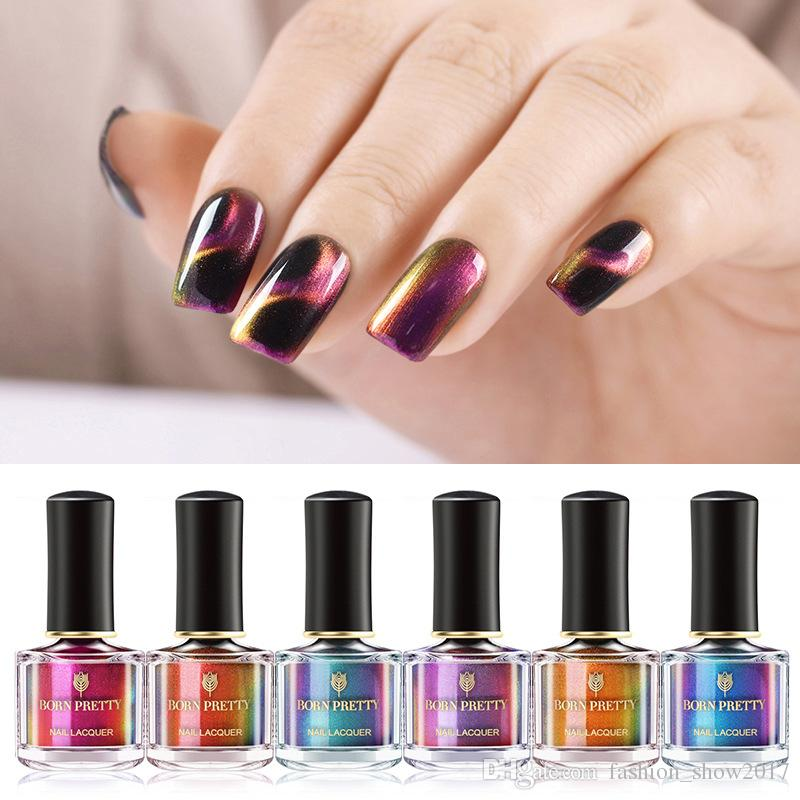BORN GRAZIOSO 3D Glitter Nail Polish 6ml Holographic Chameleon Cat Eye smalto per unghie Lacca per unghie Black Base Needed